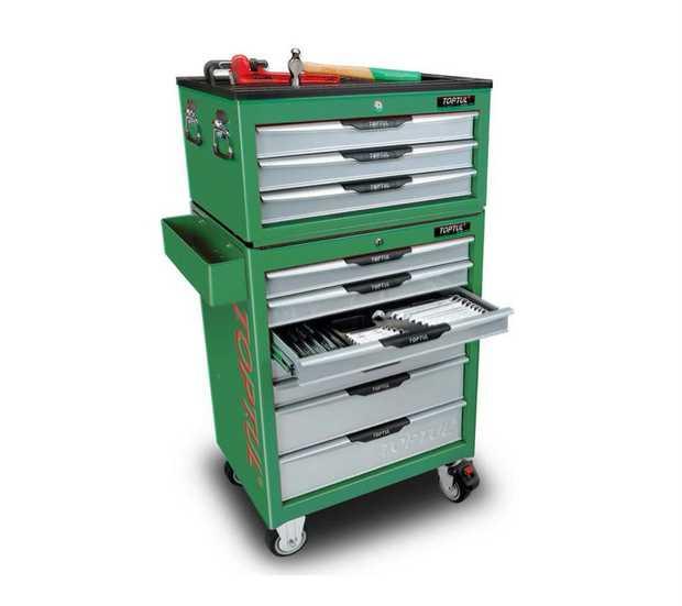 Toptul 372 Pcs 10 Drawer Metric/AF Tool Kit TTPK1000G Contents: 23 PCS Pro-Series Reversible Ratchet...