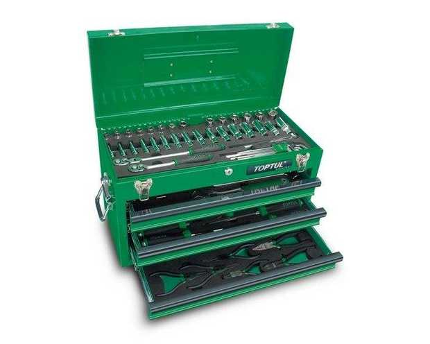 Toptul GCAZ0016 82 pcs 3 Drawer Mechanical Tool Set Specifications 3 Drawer Tool Chest-508mm(W) x...
