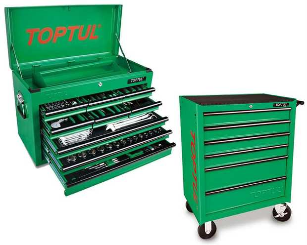 Toptul GCBZ186AB 186 Piece 9 Drawer Metric/AF Tool Kit + 6 Drawer Roller Cabinet Ideal for Apprentice...