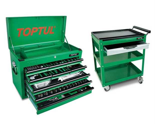 Toptul GCBZ186ABC 186 Piece 9 Drawer Metric/AF Tool Kit + Service Trolley Cart Ideal for Apprentice who...