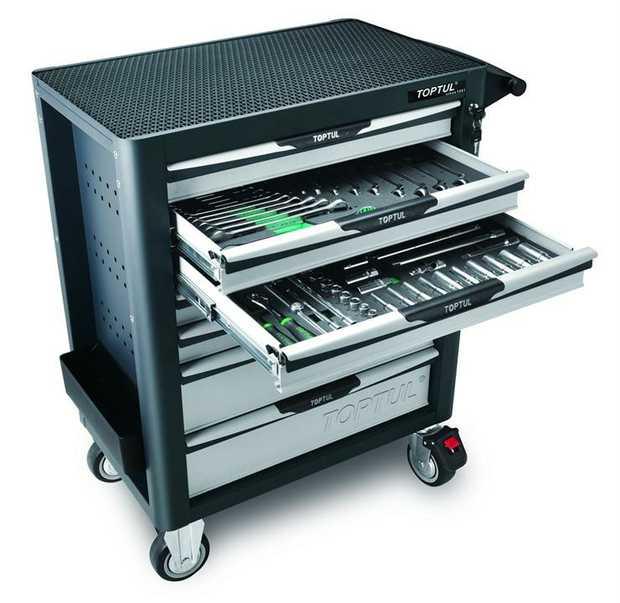 Toptul GV-26109 7 Drawer 261 Pcs Metric Tool Kit Pro-Plus 18 PCS Combination Spanners 15, Metric 10 PCS...