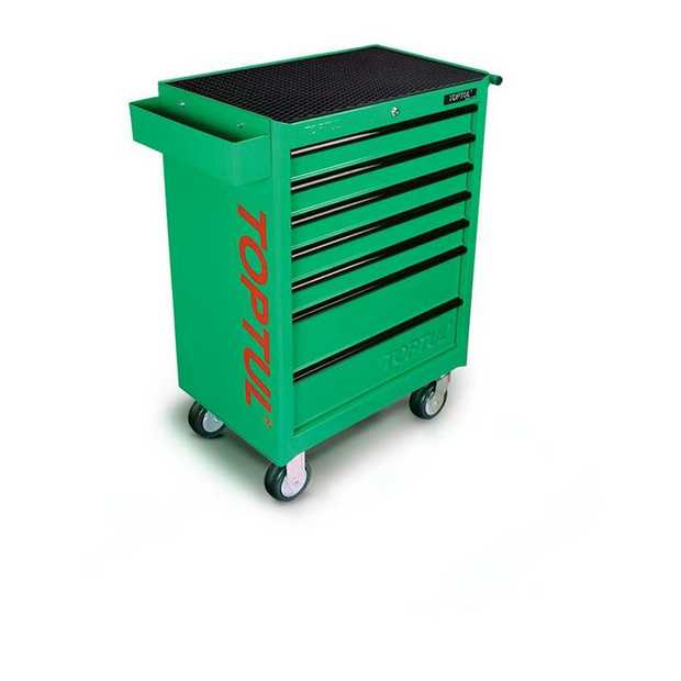Toptul TCAA0701 General Series 7-Drawer Mobile Tool Trolley Green Features 5 Medium and 2 Large Drawers...
