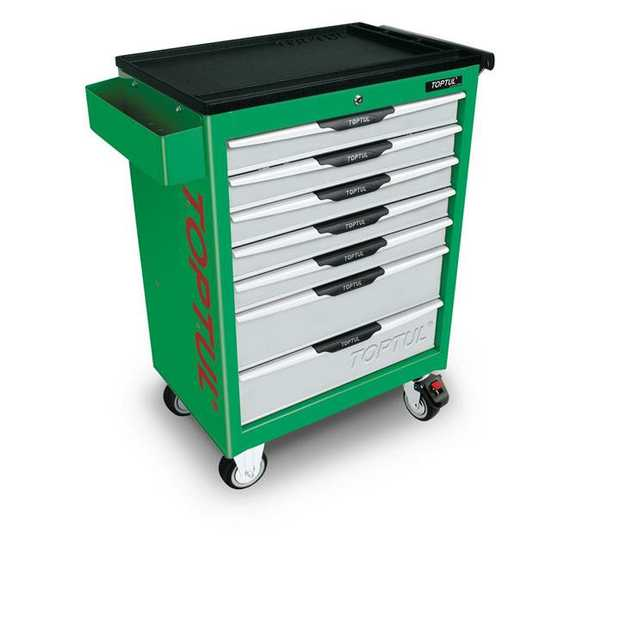 Toptul TCAC0701 Pro-Line Series 7-Drawer Mobile Tool Trolley Green Features 5 Medium and 2 Large...