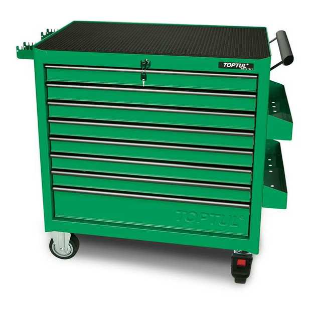 Toptul TCBA0801 8-Drawer Jumbo Roller Cabinet Green Features Loading Capacity Per Drawer 45 kg Static...