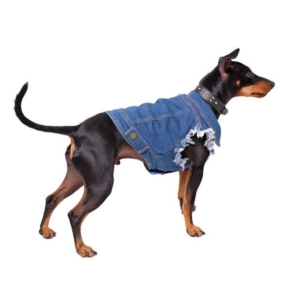 Pethaus Australia Raw Denim Dog Vest with Cut-Off Sleeves - Size 14