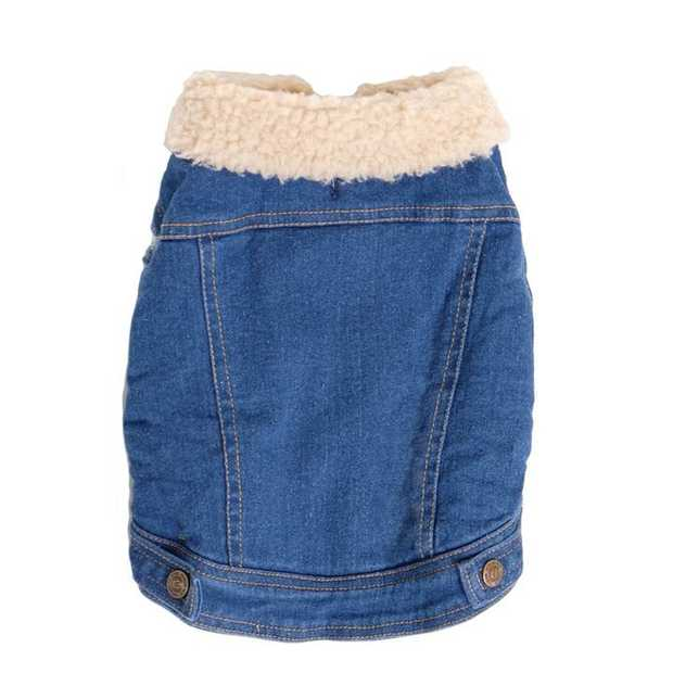 Pethaus Australia Sherpa-Lined Denim Dog Vest with Cut-Off Sleeves - Size 14