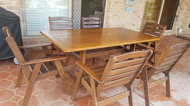 Solid timber table with 6 chairs. Good condition. No damage. Sturdy and solid hardwood.