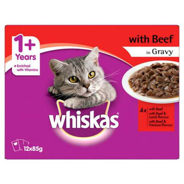 Whiskas Beef in Gravy Variety Adult Wet Cat Food 12x85g is a delicious nutritionally balanced diet for...