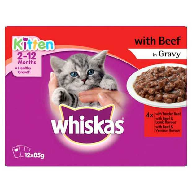 Whiskas Beef in Gravy Variety Kitten Wet Cat Food 12x85g is a delicious nutritionally balanced diet for...