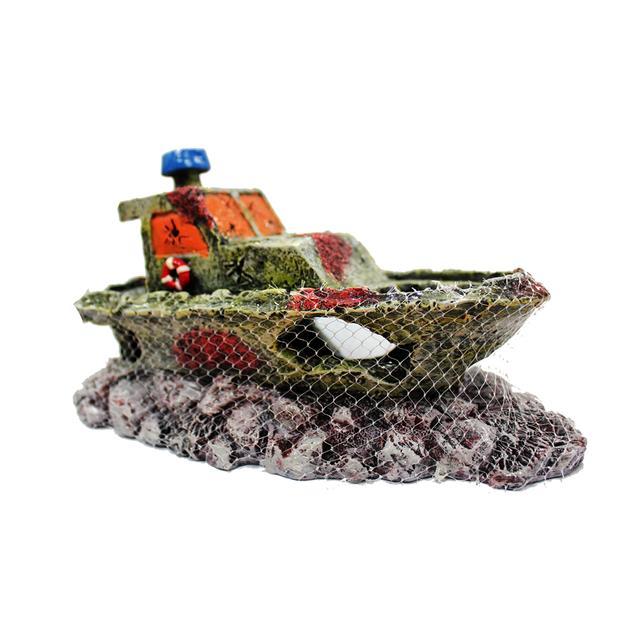 aquatopia hermit crab shipwreck with net  each | Aquatopia | pet supplies| Product Information:...
