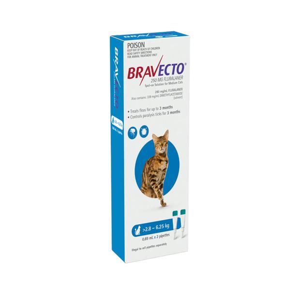 bravecto spot on for cats blue  4 pack | Bravecto cat Flea&Tick Control | pet supplies| Product...