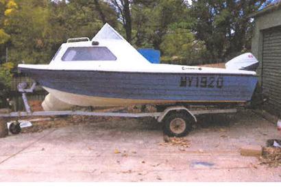 BLUE JABARU boat & trailer, 4.6m fibreglass hull, 65hp Suzuki outboard, anchor, reg 04/2020...
