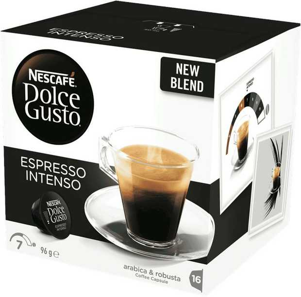Discover NESCAF� Dolce Gusto Espresso Intenso, an intense, medium-dark roast coffee of intensity 7 out...