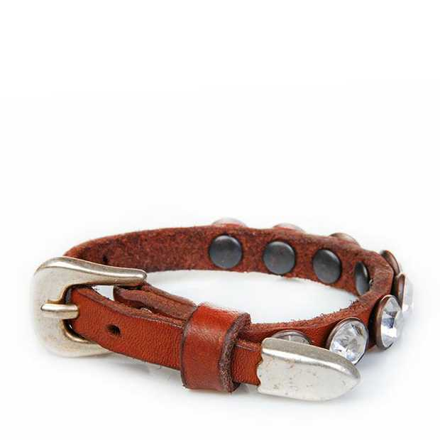 italian leather embellished double bracelet    adjustable strap, featuring diamantes. l20cm x...