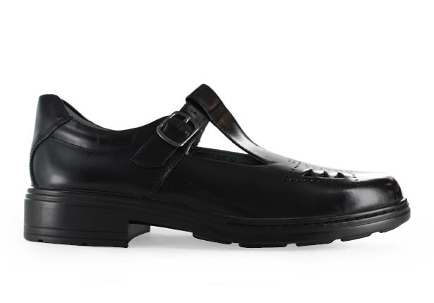 The Clarks Ingrid senior school shoe is designed with a buckle fastening and laser cut toe design.