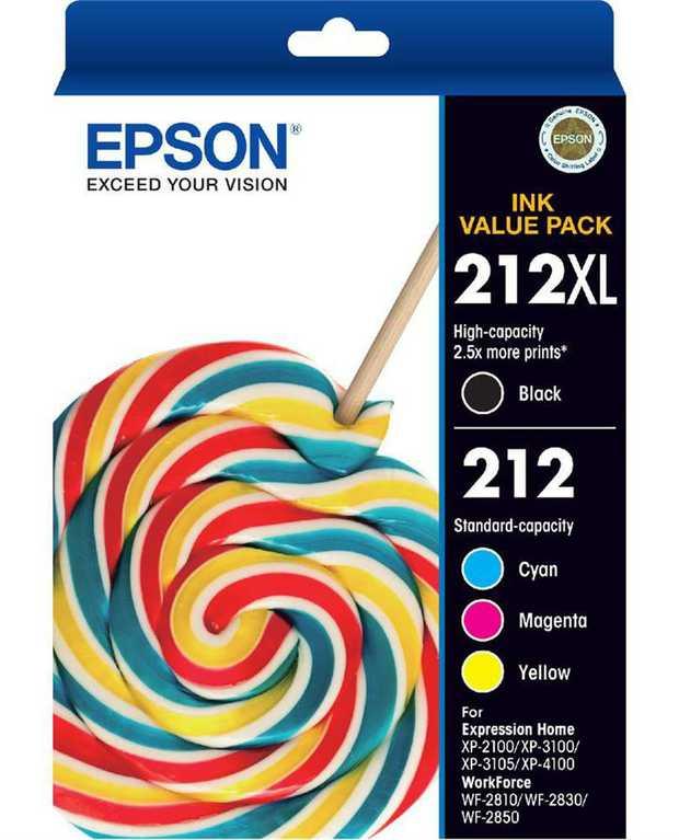1x 212XL Black ink cartridge 3x 212 Std Colours ink cartridges Versatile four-colour ink set Delivers...