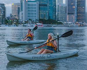 Glide up Brisbane River in the romantic dusk and be dazzled by stunning city lights on this 90 minute...