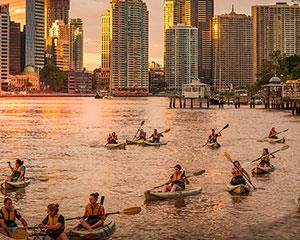 Glide up Brisbane River in the romantic dusk and be dazzled by stunning city lights with this night...