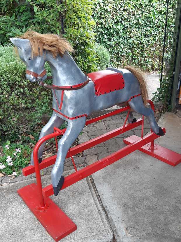 Large early childhood rocking horse on platform base   measuring 1200mm long.Full height of horse...