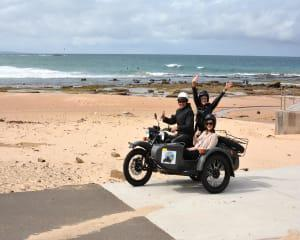The moment your step into the sidecar you will instantly feel animated. Enjoy views of golden sand...