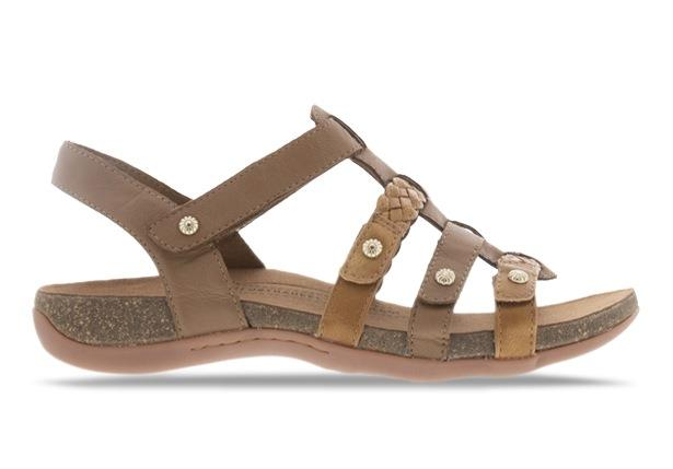 The Orthaheel Asaka sandal channels a roman sandal style with the three straps across the upper. The...