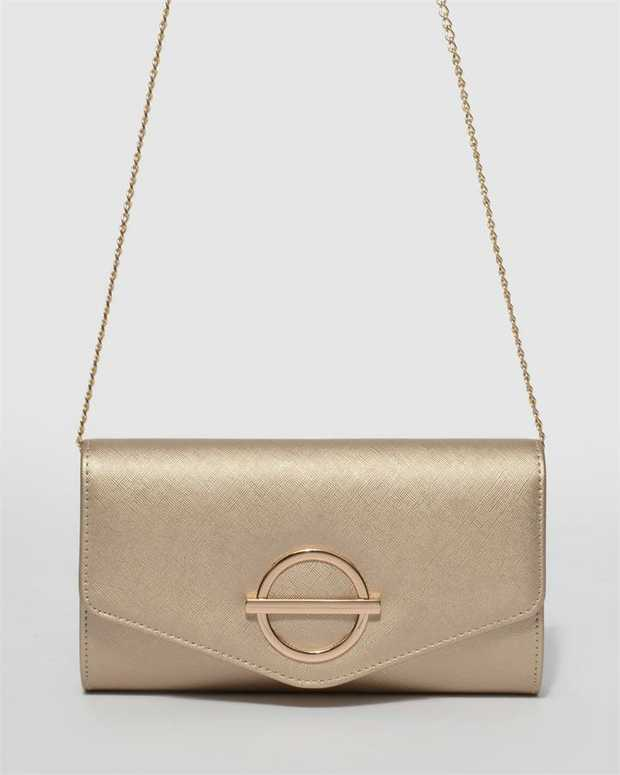 Part of our Belle of the Ball collection Gold finish with gold tone hardware Saffiano faux leather...