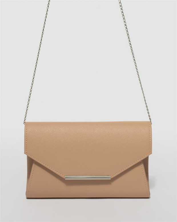 Part of our Belle of the Ball collection Nude finish with silver tone hardware Saffiano faux leather...