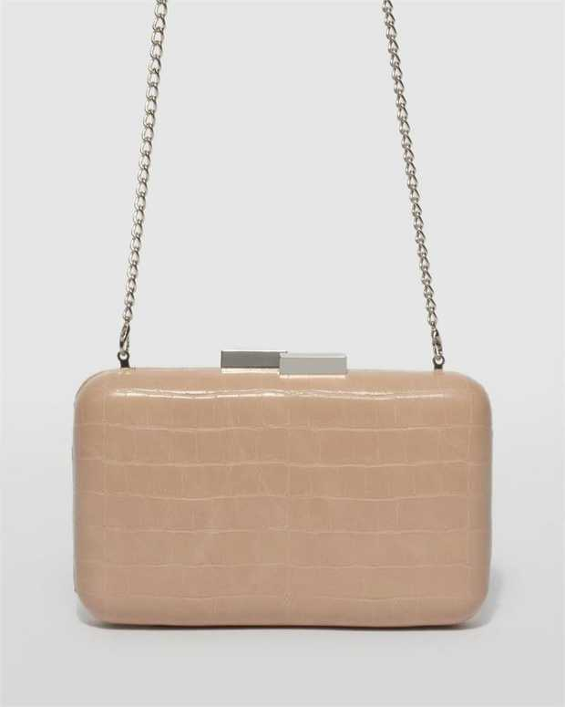 Part of our Belle of the Ball collection Nude finish with silver tone hardware Croc faux leather...