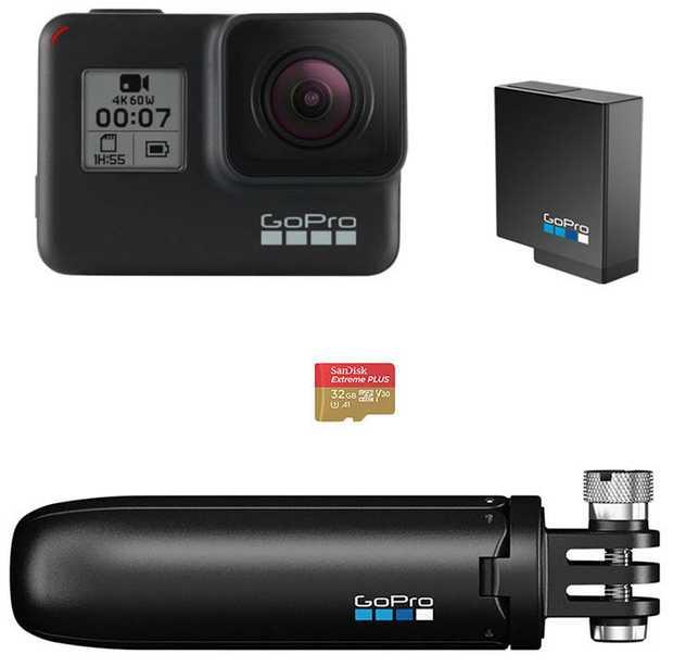 Hero7 Black camera 32GB SanDisk MicroSD Card AABAT-001 - Battery Pack AFTTM-001 - Shorty Grip/Tripod...