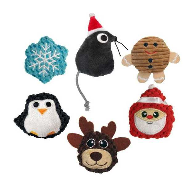 KONG Holiday Scrattles Catnip Rattle Cat Toy in Assorted Christmas  Characters