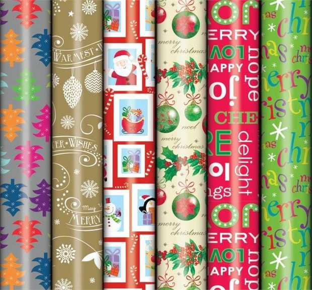 Roll Wrap 5M Christmas Design- Assorted - One Roll