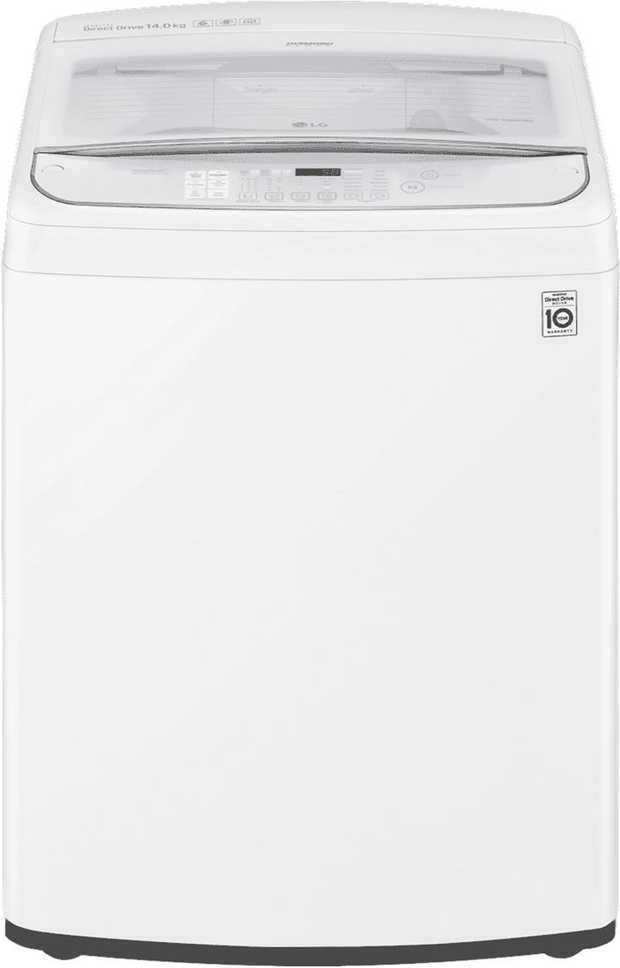 This white LG top loader washer has a high 4 star WELS water rating and a 4 star energy rating for bill...