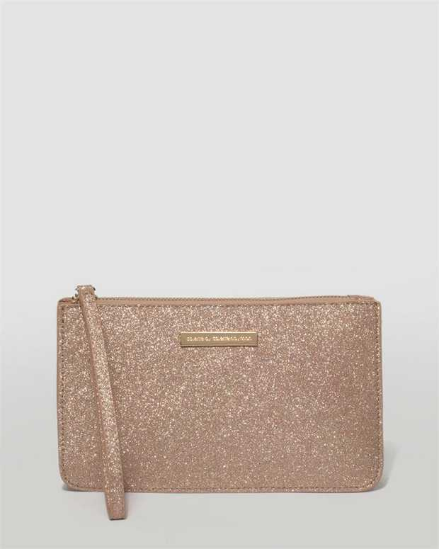 Part of our Clutch Classics collection Rose Gold finish with rose gold tone hardware Glitter material...