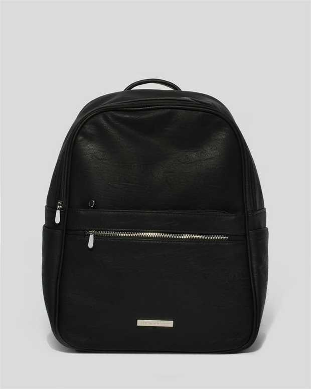 Part of our Backpack collection Black finish with silver tone hardware Smooth faux leather Zip secures...