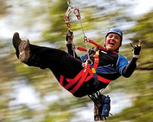 The Illawarra Fly Zipline Adventure involves flying on a series of cable spans and suspension bridges...