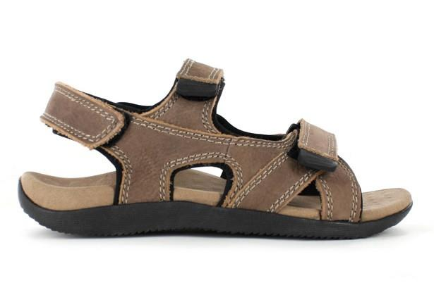 The Orthaheel Mens Bells II Tan is a casual sandal featuring multiple adjustable straps suitable for...