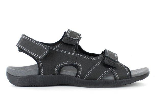 The Orthaheel Mens Bells II Black is a casual sandal featuring multiple adjustable straps suitable for...
