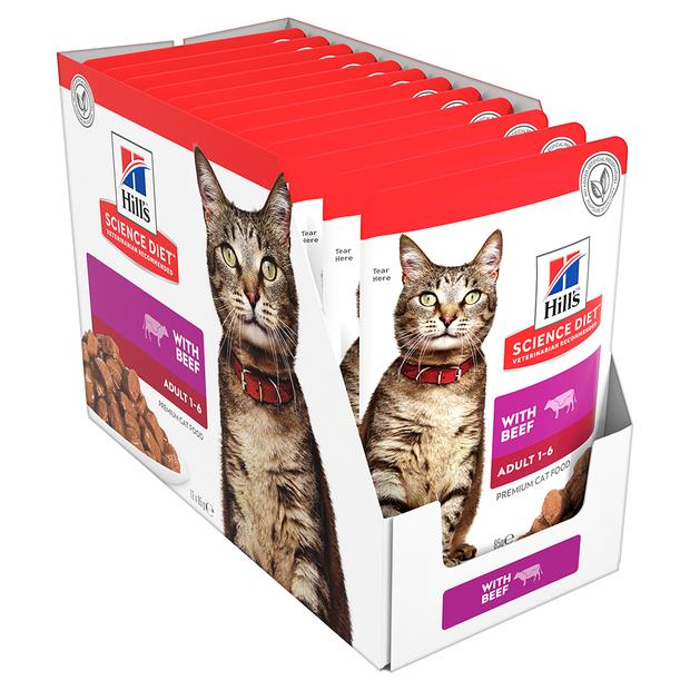 hills science diet adult beef cat food pouches  12 x 85g   Hills Science Diet cat food   pet supplies ...