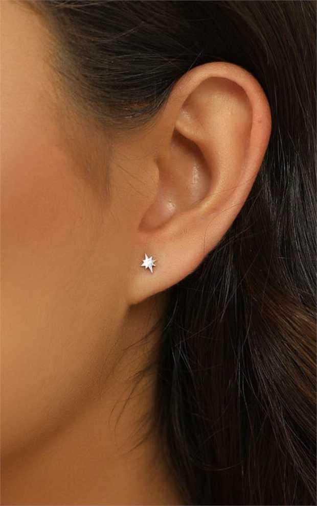 Sterling SilverCelestial StudsWeight: .5gSmall Star: 5mmLarge Star: 7mmMarked .925...