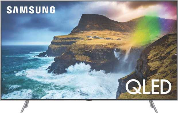 This Samsung TV's 82-inch screen lets you watch easily from a distance. It features a QLED display.