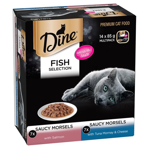dine fish selection saucy morsels salmon and tuna mornay cheese wet cat food  14 x 85g   Dine cat food...