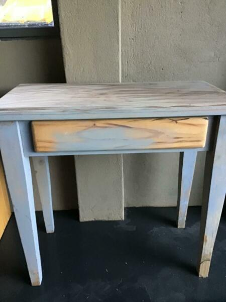 Solid pine timber hall, sofa table. Includes new black pull handles.  Unfinished project, be painted...