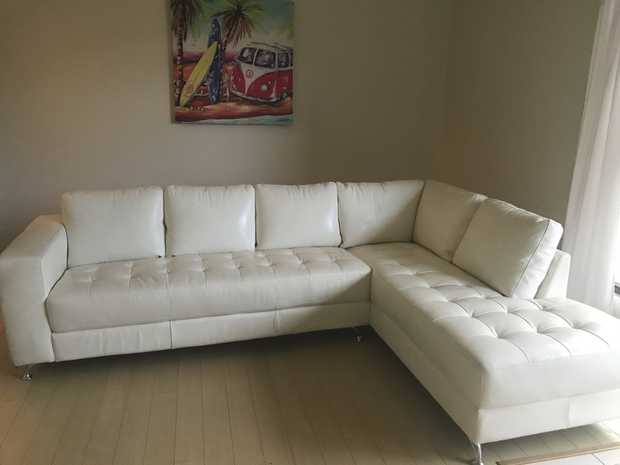 Must clear immediately. Moving all this weekend..why miss!  100% cream leather corner with chaise...