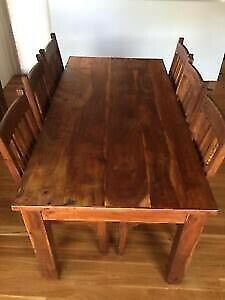 As New Solid Acacia Timber Dinning Buffet. 4 drawer and 4 door and Acacia Timber 7 Pce Dinning...
