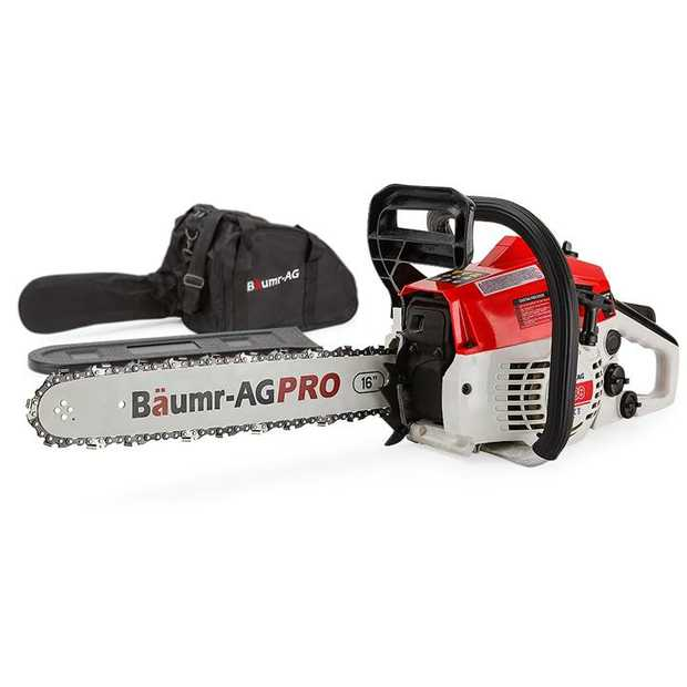 """The Baumr-AG Pro 16"""" Chainsaw is perfect for trady or home handy man who likes to work hard and pack..."""