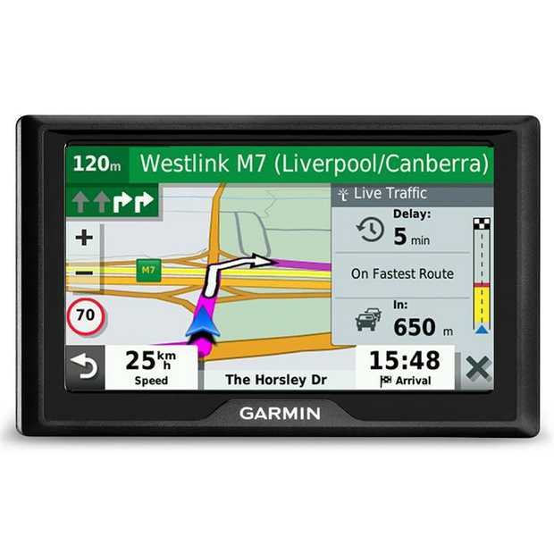 "Easy-to-use 5"" GPS navigator Simple on-screen menus Bright, easy-to-see maps Garmin Traffic suggests..."