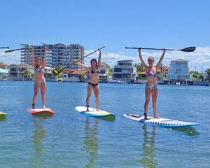 Stand up paddle lesson begins with a safety briefing and basic instruction followed by a demo by...