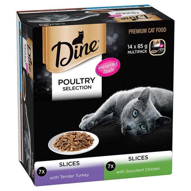 dine poultry selection slices turkey and chicken wet cat food  14 x 85g | Dine cat food | pet supplies|...