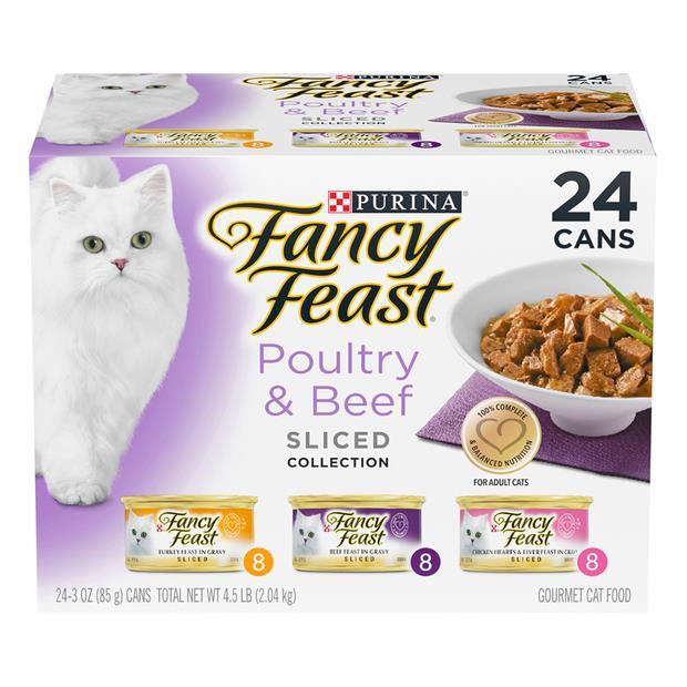 fancy feast variety pack poultry beef sliced wet cat food  24 x 85g | Fancy Feast cat food | pet...