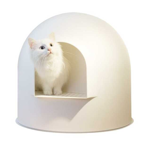 Pidan Igloo Covered Cat Litter Tray - Stops Tracking - White